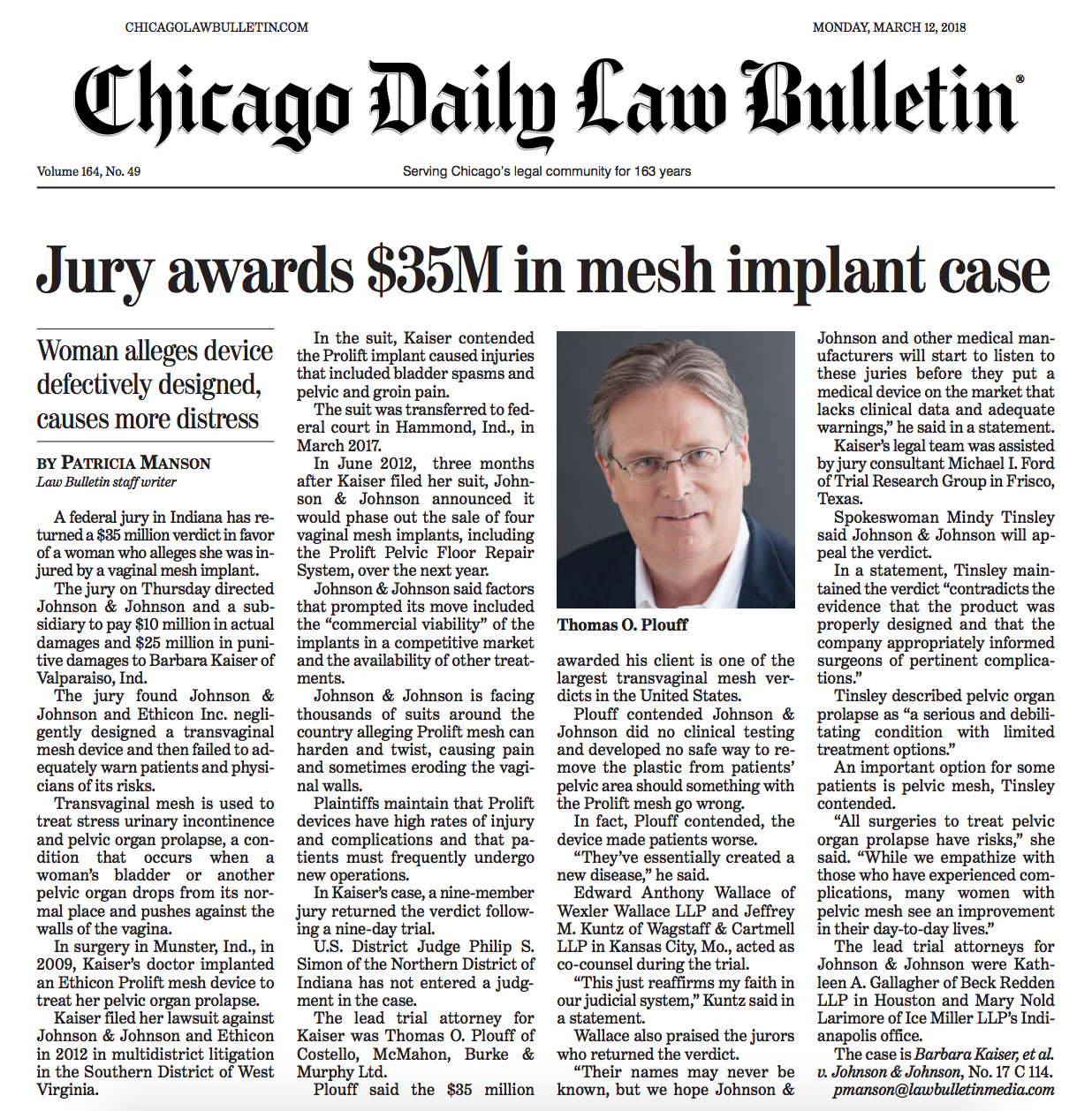 Chicago Attorney Tom Plouff